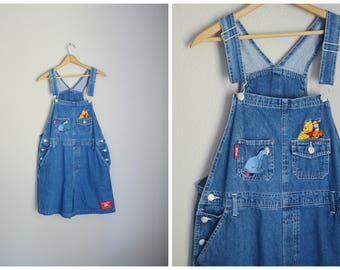 vintage 90s eeyore winnie the pooh denim jean shortalls -- womens large xlarge