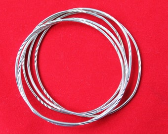 Five Interlocked Sterling Silver Bangle Bracelets, Rolling Bracelet