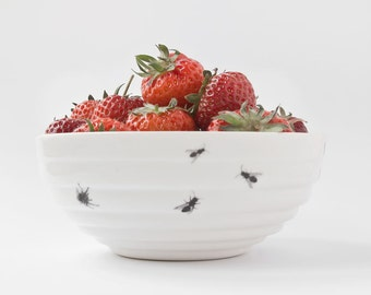 Small Ceramic Bowl with Insects, Handmade Porcelain Bowl with Ants, Funny Bowl with Bugs