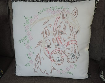 Needlework Horse Pillow Equestrian Horse Pony Vintage Linens Pillow Hand Made Pillow Needlework Pillow