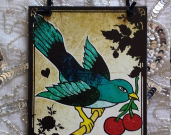 Vintage Tattoo Love Gives Us Wings To Fly Bird with Cherries Decorative Wall Plaque Sign Hanging