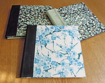 Blue Cherry Blossoms with Black Leather in a Square Blank Guest Book or Album