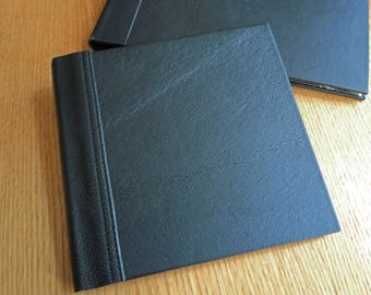 Black Leather Square Blank Guest Book or Album