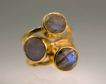 40 OFF - Size 4 - Gemstone Ring - Stackable Rings - Gold Rings - Grey Moonstone - Labradorite -  Bezel Rings - Stackable Rings