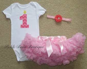 Pink Chevron - 1st Birthday Girl Outfit - Ready To Ship - Bodysuit - Pink Pettiskirt Tutu - Headband - Baby Girls First Birthday Outfit