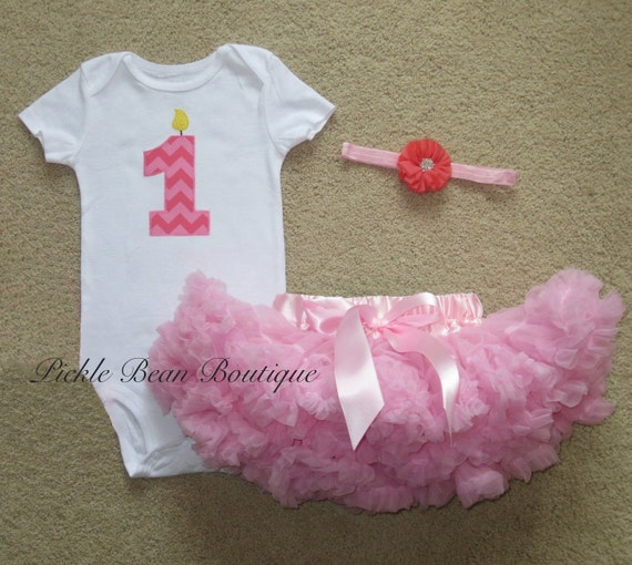Pink Chevron 1st Birthday Girl Outfit Ready To Ship