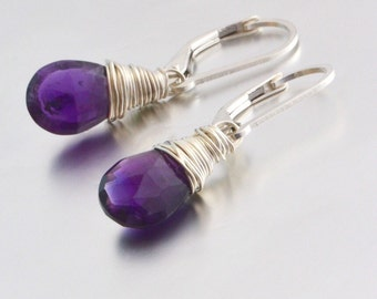 Purple Amethyst Sterling Silver Lever Back Earrings, February Birthstone, Gift for Her, Wedding Jewelry