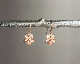 Rose gold flower earrings, rose gold jewelry, plumeria, everyday, minimalist jewelry E239