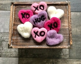 Wool Felted Hearts // Photography Prop//