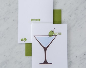 Olive You, Love Cards, I Love You Card, Martini