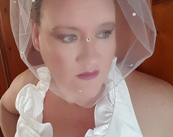 Birdcage Tulle Veil Scattered Crystals