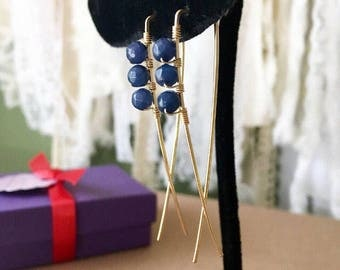 Navy Blue Earrings, Gold Navy Earrings, Beaded Gold Threader, Blue Jade Earrings, Blue Gemstone Earrings, Gold Blue Earrings