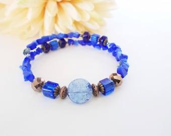 Navy Blue Bracelet, Memory Wire Bracelet, Boho Jewelry Wrap Bracelet, Cobalt Blue Bracelet, Stone Beaded Bracelet, Birthday Gift for Her