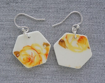 Golden Rose Hexagon Earrings Recycled Broken China Jewelry Material and Movement