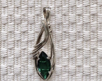 Emerald Marquise Wire Wrapped Pendant