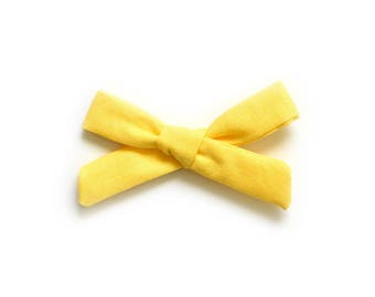 YEllow Hand Tied Bow - Yellow Headband - School Girl Bow - Baby Bow