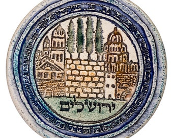 Hand Made Ceramic Art Tile Plaque Jerusalem Design By Amir Rom Amazing Gift From Israel - Free Shipping