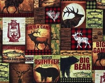 Elk Mountain Patch print premium cotton fabric from Clothworks - deer, wildlife, fish, trees, bear