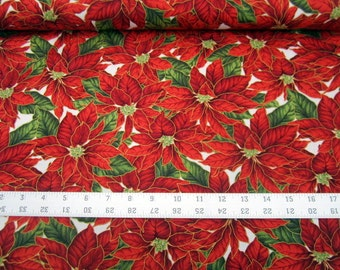 Christmas Traditions Poinsettias on White with metallic gold outlines premium cotton quilting fabric from Maywood Studio BTY