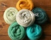 Needle Felting Wool Roving Assortment, YOU CHOOSE 6, Customized Fiber Sampler, Samples, Weaving, Wet Felting, Fiber Arts, Craft Supplies