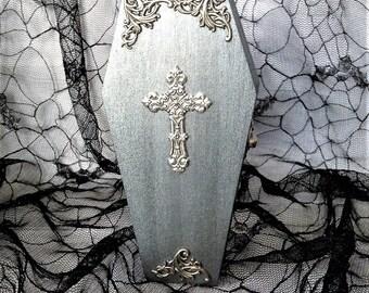 Silver Filigree Cross Goth Wood Coffin Box