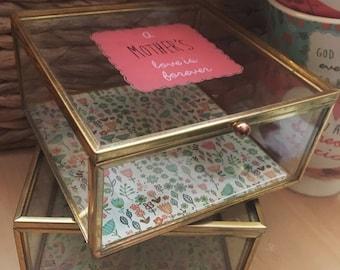 Glass Keepsake Box - Gift for Mother, Grandma, Nana