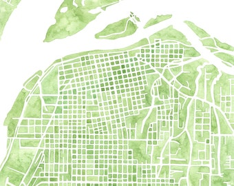 Eureka California watercolor map