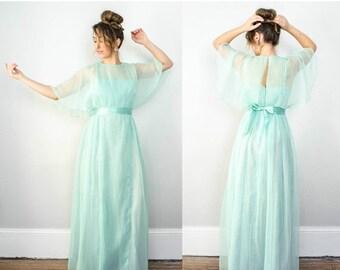 25% OFF SALE / 1970s vintage dress / vintage Victor Costa sea foam green chiffon maxi dress / size 6 / medium