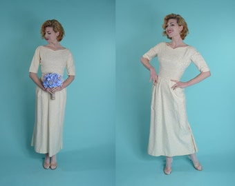 Vintage 1960s Brocade Wedding Dress - Emma Domb - Cream Bridal Fashions Size Small