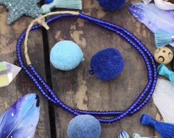 Galaxy Cobalt Blue : Translucent Sparkly Goomba Beads, Ghana Glass Rondelle Tube Spacers, Asstd. Sizes 4x3mm, Summer Jewelry Making Supply