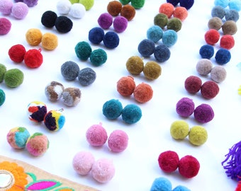 "Luxe Pom Poms, Loops for Jewelry, New SPRING Pantone Colors. 1"" Designer Jewelry Making Charms, Fall Fashion Trend, Handmade, Choose Colors"