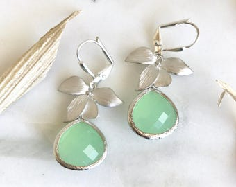 Silver Orchid and Large Mint Green Teardrop Drop Earrings. Mint Dangle Earrings. Jewelry Gift for Her.  .