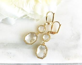 Gold Bridal Earrings with Clear Stones.  Drop Bridesmaids Earrings. Dangle Earrings.  Bridal Jewelry. Modern Earrings. Wedding. Gift.