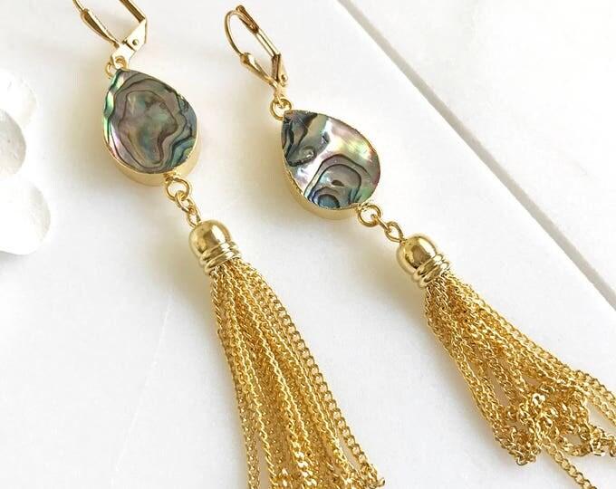 Gold Tassel Earrings.  Drop. Dangle. Mother of Pearl Tassel Earrings. Tassel Jewelry. Jewelry Gift.  Dangle Earrings. Modern. Gift.