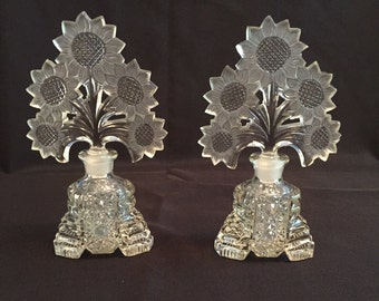 Pressed Glass Perfume Bottles made by Imperial Glass for Irice Sunflower Stoppers