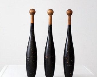 SALE antique juggling clubs / Indian juggling pins / wood meels