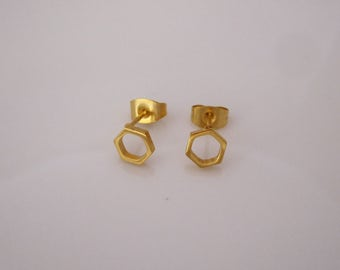 Geometric HEXAGON yellow gold or grey surgical steel stud earrings