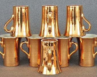 8 Stunning HALL 22-Karat Gold Covered Mugs In Beautiful UNUSED Condition