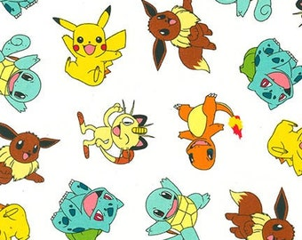 Robert Kaufman. Pokemon. Character Toss White - By the Yard - Choose your cut