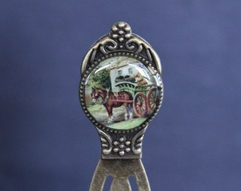 Vintage Horse & Carriage Bookmark - Antique Brass Base