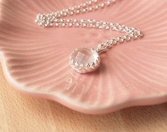 Rose Quartz Necklace - Baby Pink Gemstone Pendant Necklace - Rose Quartz Jewellery - Wedding Jewelry - Gift for Girl
