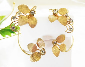 Ear Wraps Vintage Gold and Rhinestones Leaves and Rhinestone buds no Pierce no Problem Hot style ear cuff High Style
