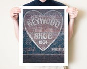 Heart shaped old advertising print. Love heart ghost sign photograph, rustic decor. Old signs shoe artwork. Wedding art gift. Worcester MA