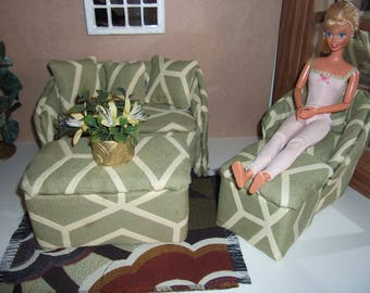 1:6th scale Barbie Dollhouse Handcrafted Furniture Upholstered Sofa Chair SET for Barbie Living Room or  Bedroom Scaled for BARBIE BLYTHE