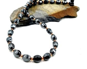 Magnetic Therapy Triple POWER Hematite Magnetic and Solid Pure Copper Therapy Necklace Free Gift Tag and Bag