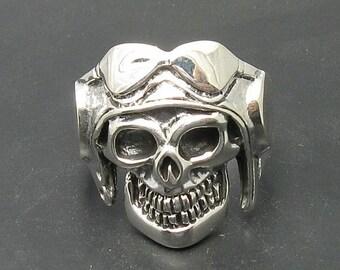 Sterling silver solid 925 pilot skull ring biker pendant