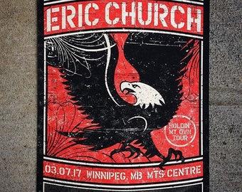 Eric Church Concert Poster, Winnipeg, MB