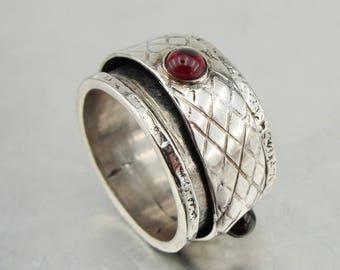Hadar Jewelry Spinner Swivel Sterling Silver Garnet Ring size 7.5, Red stone 925 Silver ring, January Birthstone, Birthday gift, Everyday