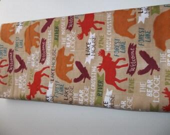 Standard/Queen Flannel Pillowcases PAIR Bear Elk Rustic Cabin Lake Resort Primitive Prim Moose