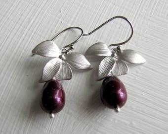 Pearl Earrings Berry Earrings Silver Pearl Earrings Pearl Silver Earrings Bridal Jewelry Bridesmaids Wedding Jewelry Gold Earrings Lavender